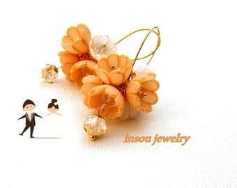 Wedding Earrings, Flower Earrings, Gold Earrings, Dangle Earrings, Romantic Earrings, Wedding Jewelry, Statement Earrings, Handmade Earrings