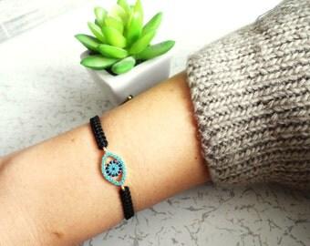 Evil eye macrame bracelet, turquoise evil eye store, black macrame crystal bracelet, italian evil eye bracelet gold evil eye bracelet
