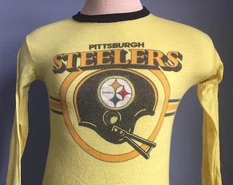 80s Vintage Pittsburgh Steelers long sleeved Pajama Shirt - X-SMALL
