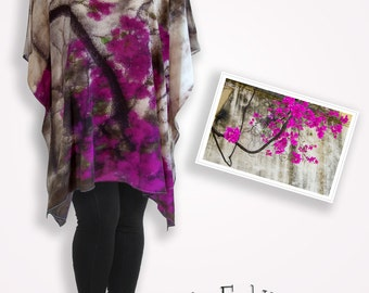 Silk bougainvillea original photography unique clothing, burgandy floral dress, purple and pink plus size kaftan, taupe boho chic clothing