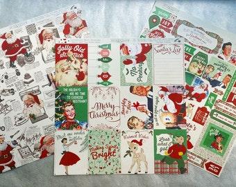 CHRISTMAS CARD STOCK, Retro Christmas Card Stock, Christmas Card Stock Stickers, Card Stock Cut Outs, Authentique Retro Christmas