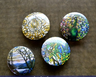"""Louis Comfort Tiffany Magnet set Tiffany Pinback Button """"Magnolia and Irises"""" """"Peacock"""" """"Leaded Glass Window"""" """"Grapevines"""" Classic Art Pins"""