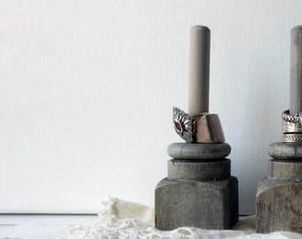 ONE Ring Holder - Grey Architectural Salvage - Ring Display - Quantities Available - READY to SHIP