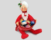 """Large Annalee Mrs. Claus Doll, 1971 Annalee Mobilitee 18"""" Grandma Doll, Christmas Decoration, Holiday Table Centerpiece, Posable Doll"""