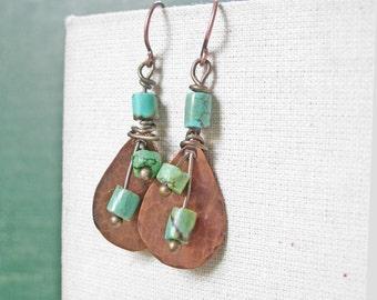 Copper Dangle Earrings Turquoise Dangle Earrings Turquoise Stone Earrings Turquoise Earrings Dangle Hippie Boho Earrings Boho Dangle Earring