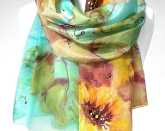 Hand Paint Silk Scarf. Silk Painting. Silk Shawl. Sunflowers. Birthday Gift for Her. Wearable Art. Echarpe Foulard. 18x71in. Ready2Ship