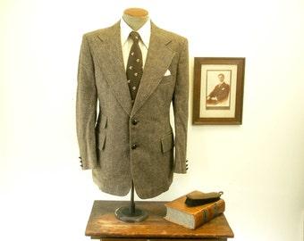 1970s Tweed Suit Jacket Mens Vintage Disco Era Brown Wool Blazer / Sport Coat by h.i.s. - Size 42 (LARGE)