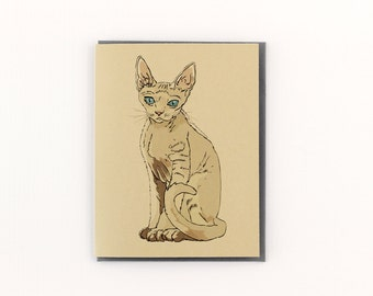 Devon Rex Cat Stationery Note Greeting Card