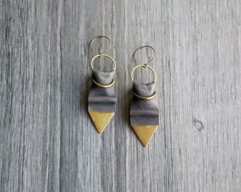 Leather Earrings. Geometric Long Earrings. Gold Brass Triangle Earrings. Minimalist Jewelry.