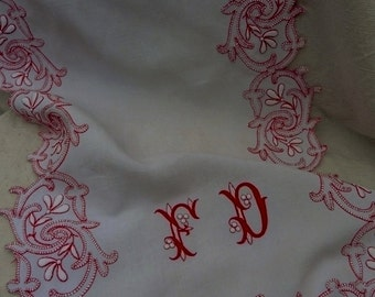 French Vintage  , French Embroidery , Monogram FD,  Lace , Hand Made Lace, Stumpwork, Antique textiles, French Linens