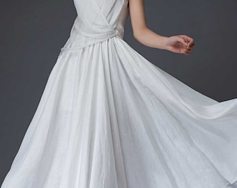 White linen dress women maxi dress prom dress C853