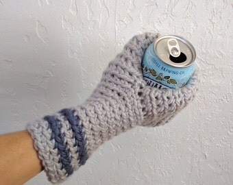 Beer Mitten . Beer Glove . Gray and Blue . Beer Gift . Tailgating . Ice Fishing . School Colors . Team Colors Mitten