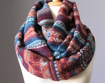 Tribal scarf, unisex scarf, ethnic scarf, chunky knit scarf,  Terracotta scarf, indian infinity scarf, navajo scarf