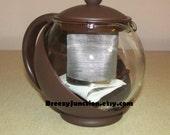Personal Tea Pot, Tea Ball, Tea Infuser, Complete Set, NOS, Brown Plastic Metal Basket Glass Globe & Instructions ~ BreezyJunction.etsy.com