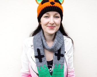 Pumpkin Kitty Beanie - Orange, Neon Green and Black Crochet Halloween Jack O Lantern Hat - Spooky Cute Pumpkin Hat - Quirky Winter Cat Hat