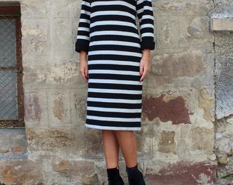 Black and Grey Wool Dress/ Knit Dress / Stripe Dress / Bodycon Midi Dress / Below the Knee Dress / Long Sleeve Dress / Winter Dress