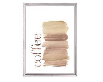 Coffee Print, 5x7 Kitchen Decor, Kitchen Watercolor, Kitchen Art,  Coffee Art, Coffee Decor, Coffee Wall Art, Cappuccino, Coffee Watercolor