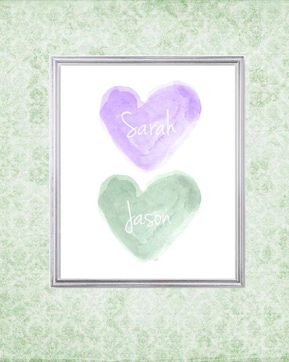 Purple and Mint Nursery Art, 8x10 Personalized Name, Watercolor Print, Lavender and Mint, Brother Sister, Sisters Gift, Sisters Room Decor