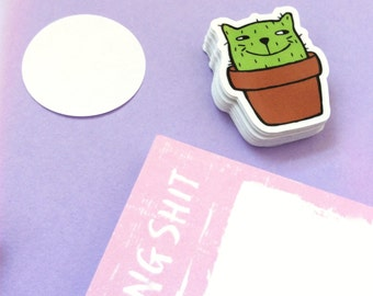 Catcus Sticker: Die cut illustrated glossy potted cactus for journal, cat lovers or pet owners!