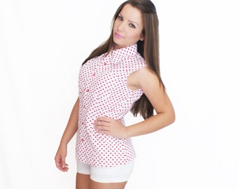 Cotton Button Down Shirt No Sleeves Red or Pink Heart Print