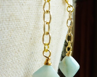 Amazonite Gold Chain Dangly Earrings