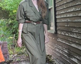 "SAFARI Shirt Wrap Dress TEA Length long sleeve BELT Modern Women Size 10 Vintage Dead Stock ""Liz Claiborne"" Army Green Grunge Shirtdress M/L"