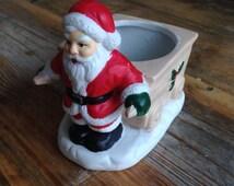 Vintage Father Christmas chalkware figure candle holder tealight holder pot