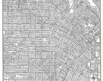 Los Angeles California Map LA Vintage 1940's Original US City Map Rand McNally Detailed Black and White Map Wall Decor