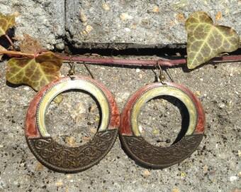 Bohemian Rust Gold Antiqued Brass Vintage Mediterranean Dangle Earrings