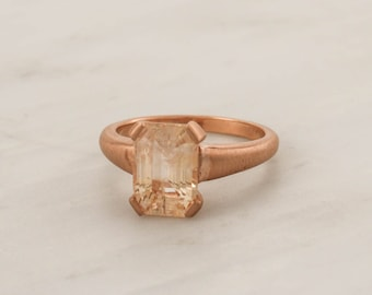 Radiant Cut Peach Champagne Sapphire Solitaire Ring in 14K Matte Finish Rose Gold