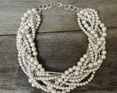 Bridal Statement Necklace - Made To Order - Pearl Rhinestone Statement Necklace - pearl chunky necklace