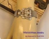 UpCycLeD Art Deco Rhinestone Belt Buckle Bracelet Repurposed Silver-tone Vintage Expandable Watch Band,Chunky, Small Wrist,WishAnWearJewelry