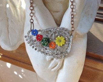 Colorful Repurposed Vintage Art Deco Flower NECKLACE Antique Dress Clip Thermocet Flowers 2-Tone Copper Chain Rainbow Colors OOAK Assemblage