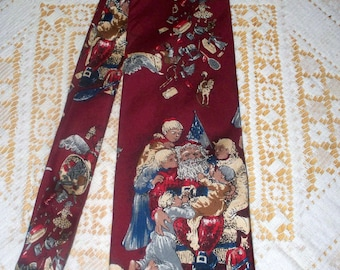 1990s Wembley Men's Tie  - Christmas Tie - Children on Santa's Lap - 100% Silk