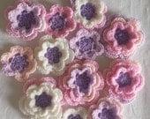 Set of 12 crochet flowers