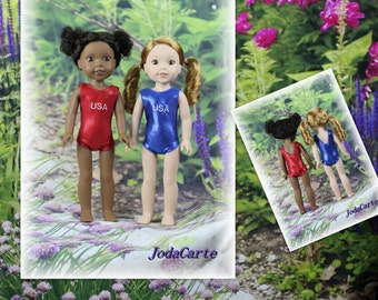 2-Pack Wellie Wishers Red USA and Blue USA Doll Leotards