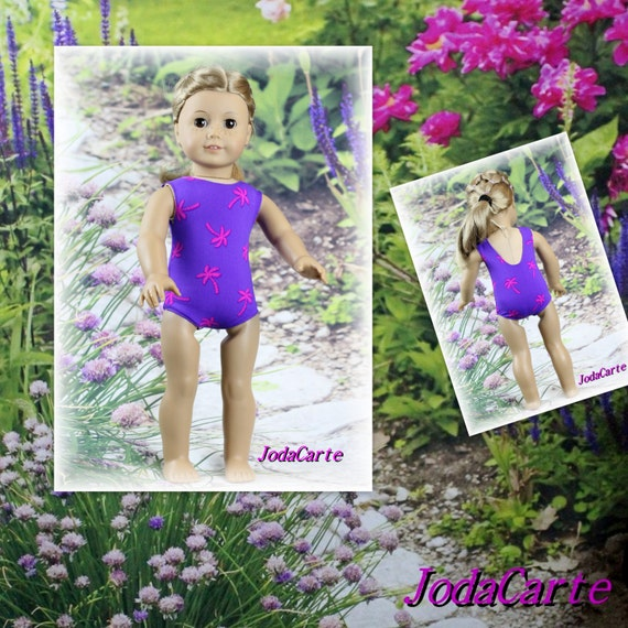 American Girl Doll Leotard/Swim Suit -- Pink Palm Trees on Purple
