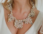 Seraphine - Golden Crystal Embroidered Lace Neckpiece