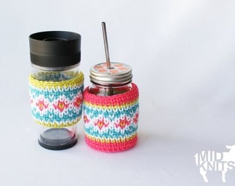 "DIY Crochet PATTERN - Fair Isle Drink Cozies - 3"" diameter fits standard jar and coffee cup sleeve (2015033)"