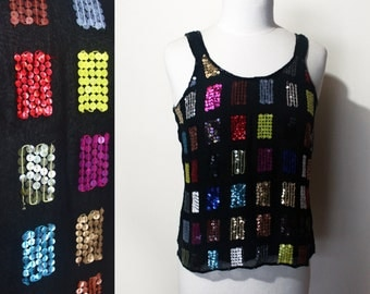 80's Sequin Tank Colorblock Squares