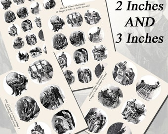 Sherlock Holmes Printables by Arthur Conan Doyle, EXTRA LARGE CIRCLES, 1.5 inch, 2 inch, 3 inch circles (38mm, 50mm, and 75 mm)