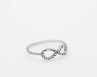 Infinit engagment ring , Diamond infinty ring , Infinity diamonds engagment ring, infinty wedding ring, gold ring, unique Engagement Ring