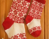 Knitting Pattern Christmas Stocking Norwegian Stranded Design Diamonds and Roses PDF