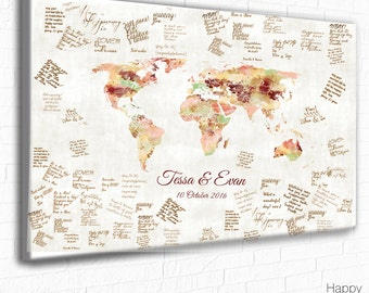 Wedding Guestbook, ANY MAP, as a Wedding Signature print, guestbook poster, Wedding Guest print, Sign the Map, poster, Party Guest Map print