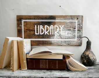 Library Sign. Clue Inspired. White, Black and Weathered Wood