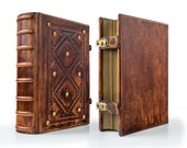 """Large Leather Journal 8"""" x 10.5"""" with genuine lizard leather details - unique journal, special gift"""