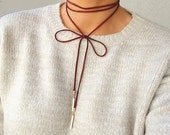 Suede Double Wrap Choker, Bow Tie Suede Necklace, Leather Choker Necklace, Suede Wrap Choker