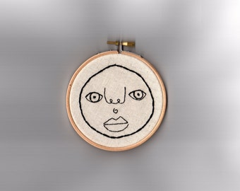 "Happy Chap // Original Artwork // Hand Embroidery // 4"" Hoop // Illustration"