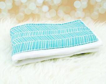 Baby Burp Cloth (Aqua Herringbone)     burp rag, baby burp cloths, burping rag, baby shower gift, baby gift, new baby gift