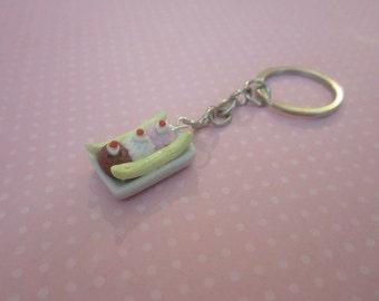 Miniature food keychain, banana split keychain, ice cream keychain, tiny polymer clay food, ice cream shoppe